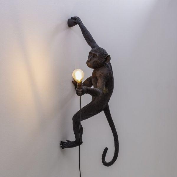 Lampă de perete interior/exterior dreapta MONKEY HANGING BLACK