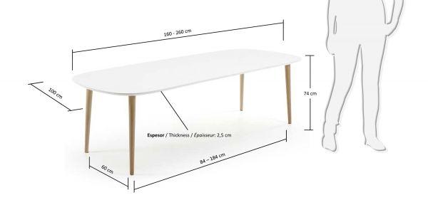 Masa extensibila NOEL WHITE 160(260)X100 CM