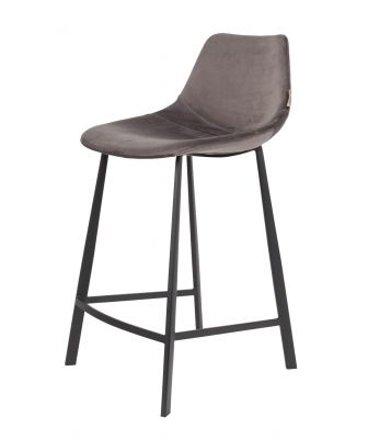 SCAUN BAR FRANKY VELVET GREY H65