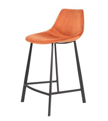 SCAUN BAR FRANKY VELVET ORANGE H65