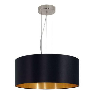 Lampă suspendată MASERLO ROUND BLACK/GOLD 38 / 53 CM