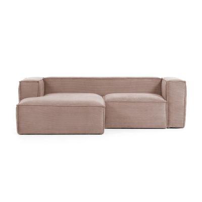 Canapea cu colț 2 locuri BLOSS VELVET PINK LEFT