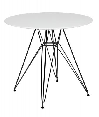 Masă KARES ROUND White - Black 80 cm